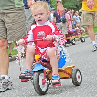 Participant in the July 4th Bike Parade